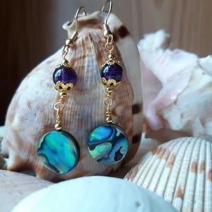 Jewelry - Abalone & Amethyst earrings